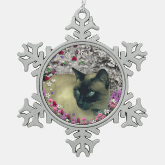 Stella in Flowers I, Chocolate & Cream Siamese Cat Ornaments
