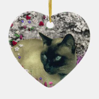 Stella in Flowers I – Chocolate Cream Siamese Cat Christmas Ornament