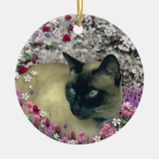 Stella in Flowers I – Chocolate Cream Siamese Cat Christmas Tree Ornaments