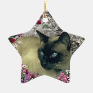 Stella in Flowers I – Chocolate Cream Siamese Cat Ornament