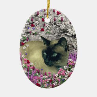 Stella in Flowers I – Chocolate Cream Siamese Cat Ornaments