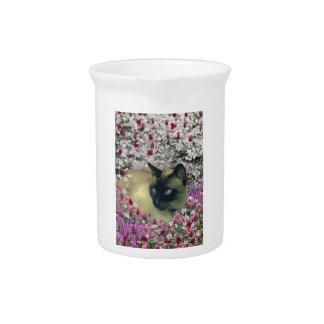 Stella in Flowers I – Chocolate Cream Siamese Cat Beverage Pitcher