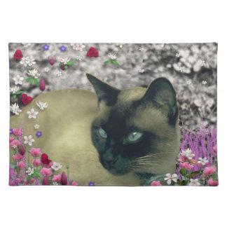 Stella in Flowers I – Chocolate Cream Siamese Cat Placemat