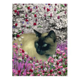 Stella in Flowers I – Chocolate Cream Siamese Cat Postcard