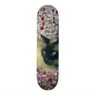 Stella in Flowers I – Chocolate Cream Siamese Cat Skateboard Deck