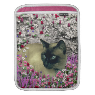 Stella in Flowers I – Chocolate Cream Siamese Cat Sleeve For iPads