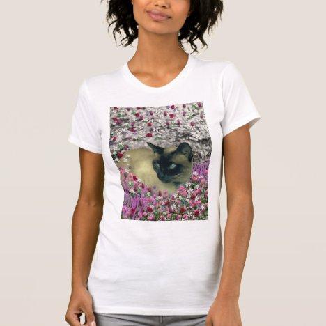 Stella in Flowers I – Chocolate Cream Siamese Cat T-Shirt