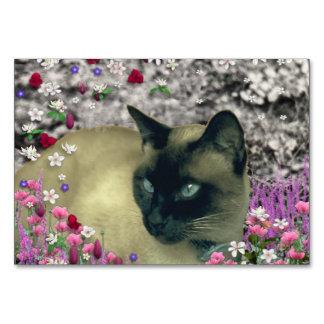 Stella in Flowers I, Chocolate & Cream Siamese Cat Table Card
