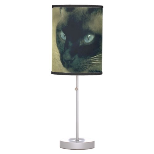 Stella in Flowers I, Chocolate & Cream Siamese Cat Table Lamp