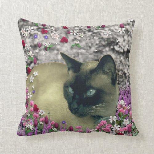 Stella in Flowers I, Chocolate & Cream Siamese Cat Throw Pillow