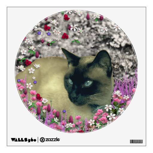 Stella in Flowers I, Chocolate & Cream Siamese Cat Wall Graphic