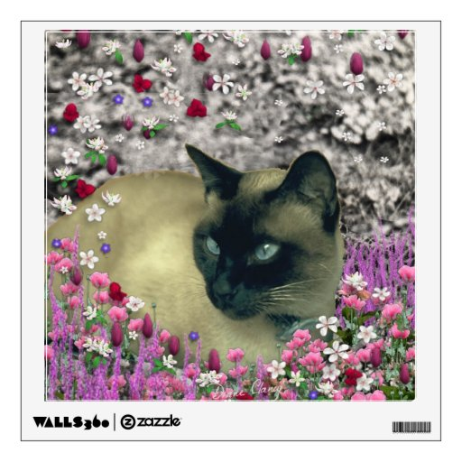Stella in Flowers I, Chocolate & Cream Siamese Cat Wall Stickers