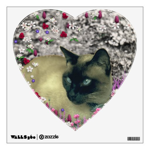 Stella in Flowers I, Chocolate & Cream Siamese Cat Wall Skins