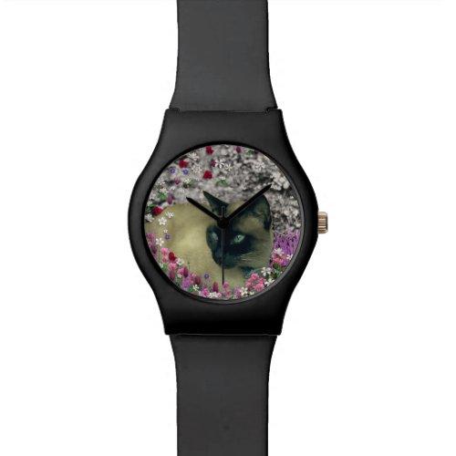 Stella in Flowers I, Chocolate & Cream Siamese Cat Watch