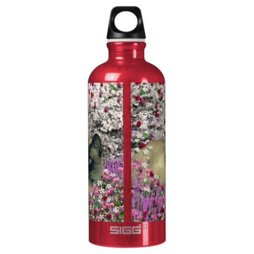 Stella in Flowers I – Chocolate Cream Siamese Cat Water Bottle