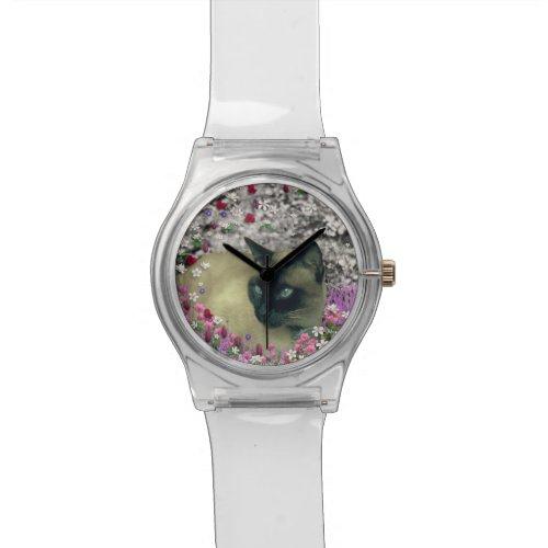 Stella in Flowers I, Chocolate & Cream Siamese Cat Wrist Watch