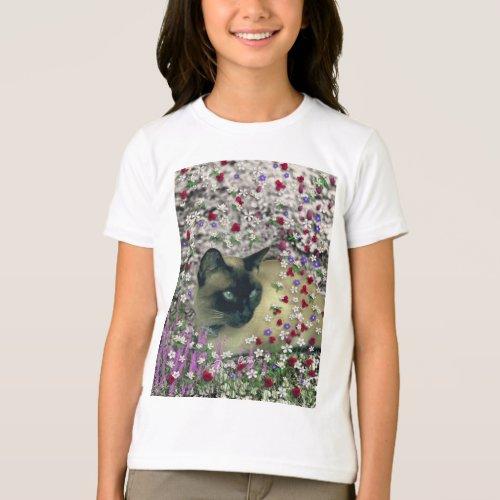 Stella in Flowers II, Chocolate Cream Siamese Cat T-Shirt
