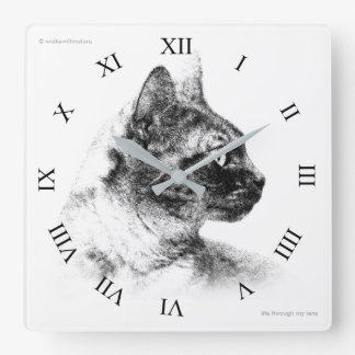 Stella the Grey Cat Square Wall Clock