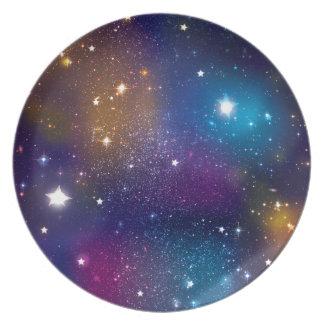 Stellar Galaxy Print Party Plates