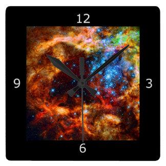 Stellar Nursery R136 in the Tarantula Nebula Square Wall Clock