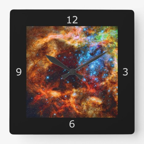 Stellar Nursery R136 in the Tarantula Nebula Square Wall Clock