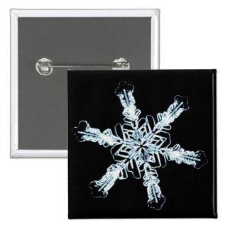 Stellar snow crystal 2 inch square button