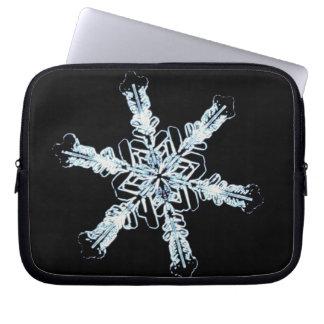 Stellar snow crystal laptop computer sleeves