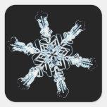 Stellar snow crystal square sticker