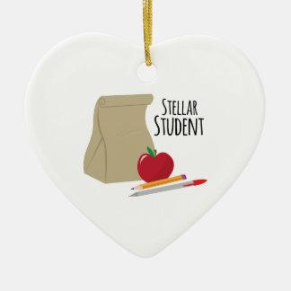 Stellar Student Double-Sided Heart Ceramic Christmas Ornament