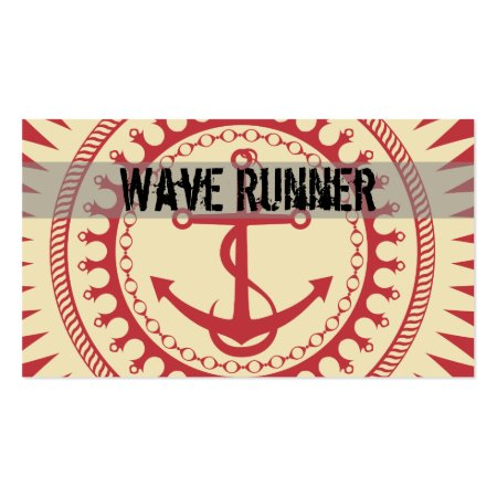 Red and White Anchor Down Boating Business Cards