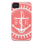 StellaRoot Anchor Down Pink Preppy Personalize iPhone 4 Cover