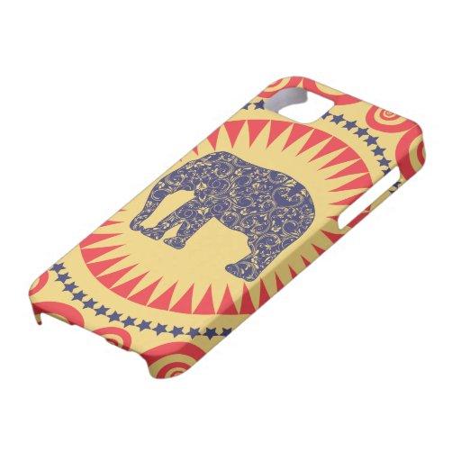 StellaRoot Damask Elephant Vinatge Preppy Burnt iPhone 5 Case