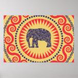StellaRoot Damask Elephant Vinatge Preppy Burnt Poster