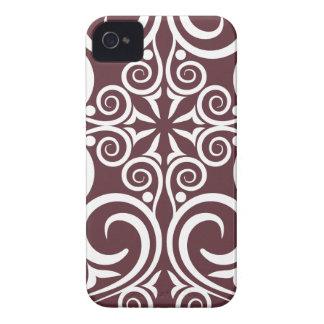 StellaRoot Damask Vintage Pattern Celtic Maroon Case-Mate iPhone 4 Cases