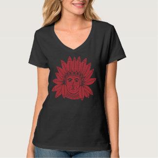 StellaRoot Drawn Vintage Chief Indian Native Red T Shirts