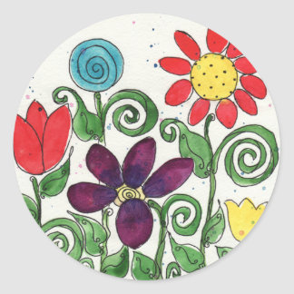 Stemmed Flowers - Watercolor Classic Round Sticker