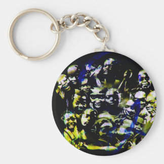 Stencil art - Blue Yellow and Keychain