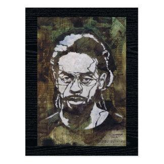 Stencil Art of a Man on Collage Postcard