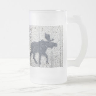 Stencil Graffiti Moose Frosted Glass Beer Mug