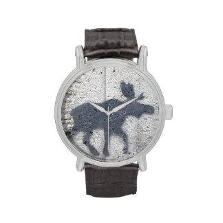 Stencil Graffiti Moose Wrist Watch