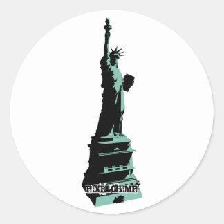 Stencil Statue Liberty Green Classic Round Sticker