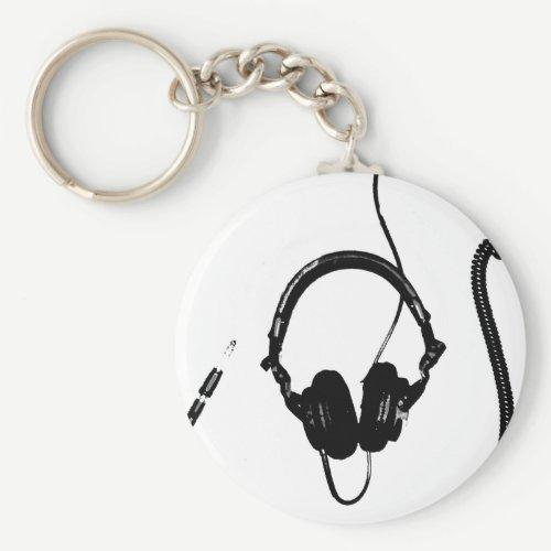 Stencil Style DJ Headphones Keychain
