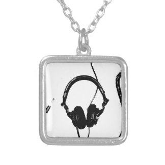 Stencil Style DJ Headphones Silver Plated Necklace