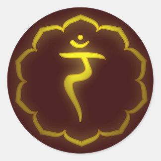 """Stenciled"" 3rd Chakra - Manipura Classic Round Sticker"