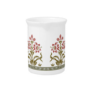 Stenciled Flowers Design Pitchers