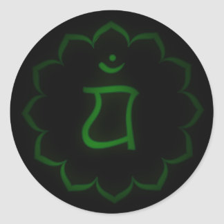 """Stenciled"" Heart Chakra - Anahata Classic Round Sticker"