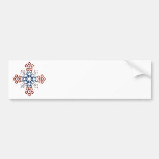 Stencilled Flowers Cross Bumper Sticker