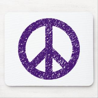 Stencilled Peace Symbol - Dp Purple Mouse Pad