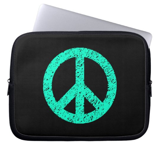 Stencilled Peace Symbol - Turquoise on Blk Laptop Sleeve