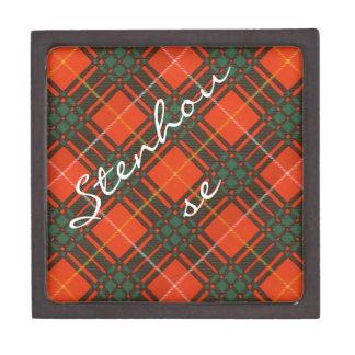 Stenhouse family clan Plaid Scottish kilt tartan Jewelry Box